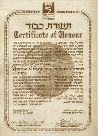 Certificato dei Giusti