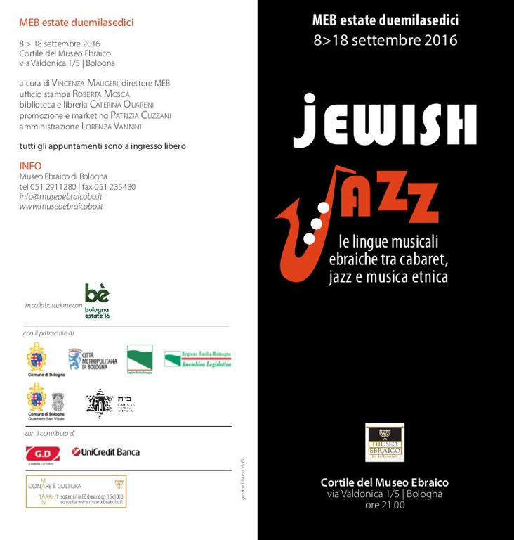 Jewish Jazz 2016 invito fronte